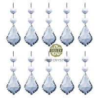 10 Clear Crystal Maple Leaf Shaped Prisms with Octagon Beads Chandelier Pendants