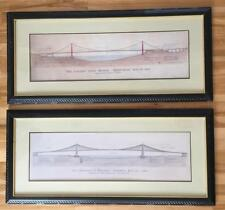 2 Restoration Hardware ROEBLING Framed Brooklyn Golden Gate Bridge Prints 19x43