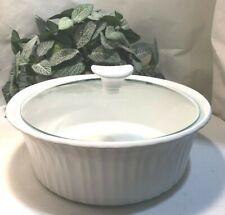 Corningware Casserole Round Dish, 2.5 Qt French White Clear/Lid White Handle