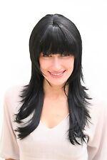 Perücke, schwarz, lang, gestuft 2600-1B ca.55 cm, peluca, parrucca, wig