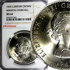 Great Britain Elizabeth II  1965 1 Crown Death W. Churchill NGC MS64 KM# 910