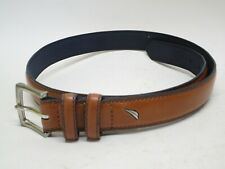 Mens Nautica Brown Leather Belt Size 30 Silver Buckle