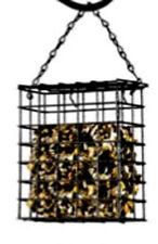 """Bird Suet - Seed Feeder Black Wire 5"""" x 5.5"""" x 1.5"""" - hanging Chain Top Opens"""