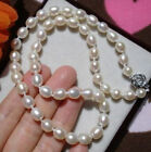 "7-8MM WHITE Cultured FRESHWATER RICE PEARL NECKLACE 17"" FF0441"