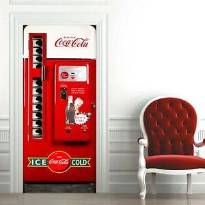 Coca cola Door decal Mural Vintage door wrap Frigde self adhesive sticker
