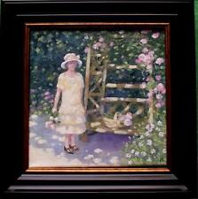 "The Rose Bower :  Nostalgic Lady Original Oil Painting  Wendy Warwick 8"" X 8"""
