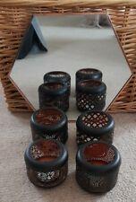 Black & Copper Metal Tealight Votive Candle Holders x4 Set Hexagon Mirror bundle