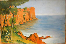 HUILE SUR TOILE-COTE ROCHEUSE-MER-BERG-PROVENCE-XX eme SIECLE-PAYSAGE MARIN-