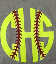Monogram Baseball Or Softball Stitches Shirt Personalized Initials New