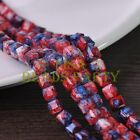 New 30pcs 8mm Cube Square Faceted Glass Loose Spacer Colorful Beads Red&Blue