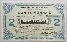 Belgique Billet de Nécèssité Blandain 2 francs 14-18 WOI Noodgeld