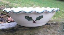New listing Hartstone Pottery Stoneware Lg Ruffled Bowl Green Holly Leaves Christmas