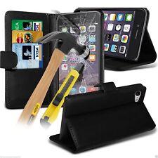 Protezione QUALITA ✔ portafoglio di pelle telefono custodia cover protezione schermo vetro ✔ ✔ Nero