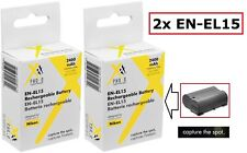 2 Pc Super Capacity EN-EL15 Lithium Ion Battery for Nikon D7000 D7100 D810 D7200