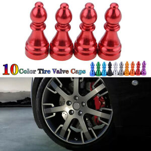 Car Tire Tyre Red Wheel Air Port Dust Cover Trim Ventil Valve Stem Caps Alloy