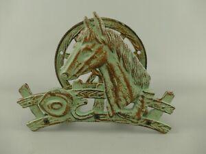 9977794 Cast Iron Figure Hose Holder Horse Iron Rustic Green 25x19cm