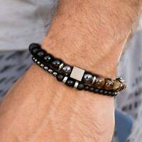 Armband Elegant 2er-Set Unisex Herren Perlen Flexibel Schwarz Braun Grau