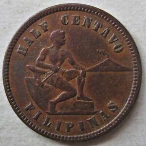 DECENT PHILIPPINES 1904 HALF 1/2 CENTAVO COIN (KM# 162)
