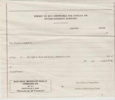 Vintage Rich Bros. Sioux Falls, SD Fireworks Permit