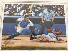 "Tom Swimm ""Blocking the Plate"" Art Print Mike Scioscia Auto 245/500 MLB Dodgers"