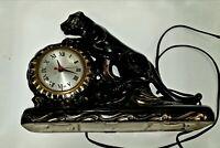VINTAGE 1950'S CERAMIC BLACK PANTHER ELECTRIC MANTLE CLOCK HANDS OF CLOCK TURN