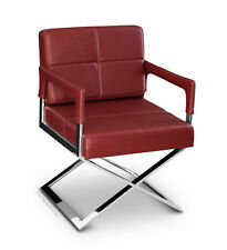 Hochwertiger Esszimmer Lounge Cocktail Stuhl m. Armlehne. Leder Rot Weiß Schwarz