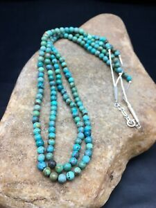 Native American Sterling Silver Blue Turquoise 2 Strand Necklace 8960