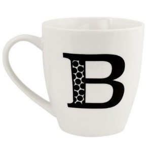 Fabfinds Hugga Mug With Initials Classic Black and White Ceramic Large Gift Cups