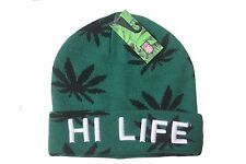 MARIJUANA LEAVES HI LIFE GREEN TOQUE HAT .. ARCTIC ZOOM..NEW