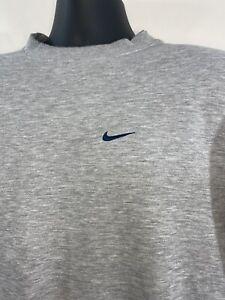 Vintage Nike Sweatshirt Medium Gray Fleece Pullover Crewneck Mini Center Swoosh