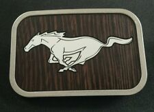 FORD MUSTANG HORSE WOOD GRAIN DESIGN BELT BUCKLE OFFICIAL LICENSED PRODUCT