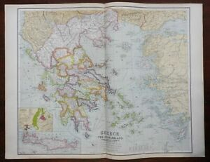 Kingdom of Greece Macedonia Aegean Islands Athens 1914 Philip & Son scarce map