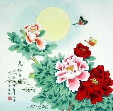 Traditional Chinese Water Ink Painting of Nature: Beautiful Flowers & Round Moon
