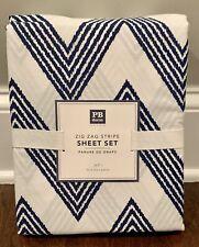 NEW Pottery Barn Teen Zig Zag Stripe FULL Sheet Set ROYAL NAVY