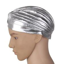 Women Stretchy Turban Head Wrap Band Chemo Hijab Pleated Indian Cap Silver