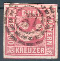 Bayern Mi.-Nr.9o mit Nr.-Stempel 37, pracht