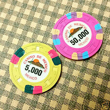 CASINO DE MEXICO 2-Chip Lot FANTAZY CHIPS Pink Yellow FREE SHIPPING