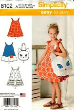 Simplicity Sewing Pattern 8102 Childrens Sundress and Kitty Tote 3-8 NEW