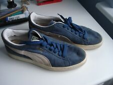 MENS PUMA SUEDE TRAINERS SIZE 6.5 (BLUE/WHITE)