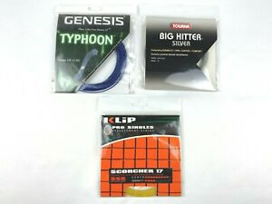 Lot of 3 Genesis Typhoon Tourna Big Hitter Klip Scorcher 17 Tennis Strings