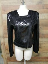 "BCBG MAXAZRIA ""SUVI"" Black Motorcycle Women's Jacket Shirt Size: L NWT"