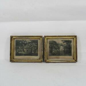 J.C. Barrow Framed Prints x2 Art Antique Gilt Edge Strawberry Hill Cottage Set