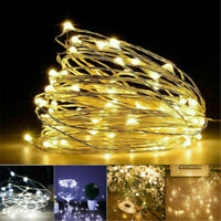 2/5/10M LED Waterproof LED MICRO Silver Copper Wire String Fairy Lights Decor