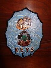 Cabin/Rustic/Pair Mallard Ducks Key Holder/Wood Burned & Painted/Folk Art