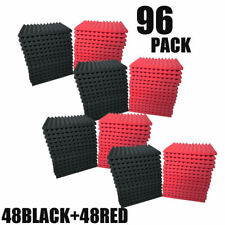96 PK RED/BLACK Acoustic Foam Panel Wedge Studio Soundproofing Wall Tiles12X2X1""