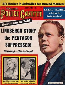 1955 Police Gazette August - Lindbergh double-crossed Hitler;Sheree North;Murrow