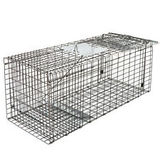 """Steel Animal Trap   32""""x12""""x13&#034 ; Large Cage Spring Loaded Pests Rodents Humane"""