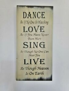 WALL PLAQUE FOR DISPLAY DANCE LOVE SING LIVE