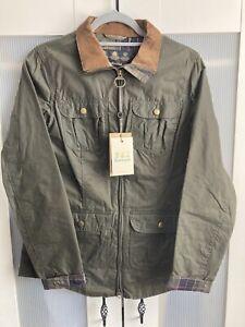 Barbour Ladies Lightweight Olive Green 4oz Wax Jacket Size Uk 10 Bnwt