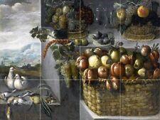 Still Life Of Baskets Of Pomegranates Tile Mural Kitchen Backsplash Art 24x18